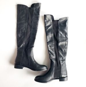REPORT | Leather Over the Knee Stretch Black Boot